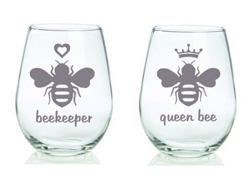 BeeKeeper and Queen Bee Glass Set