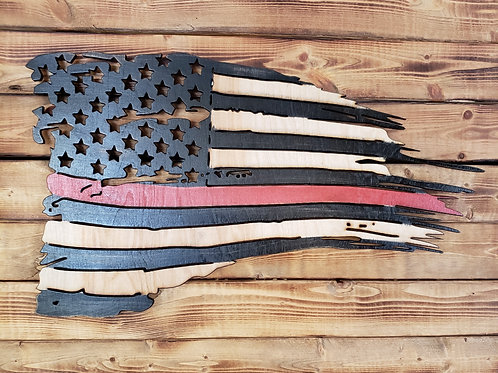 distressed american firefighter flag
