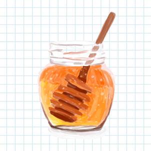 Watercolor hand-drawn honey