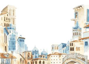 Mediterranean style building illustrations