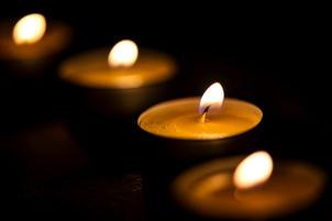 Yartzeit candles flame burning