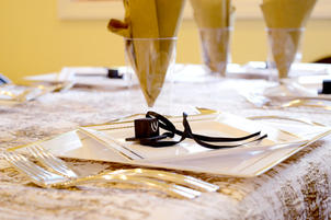 Bar Mitzvah table setting, angle 1