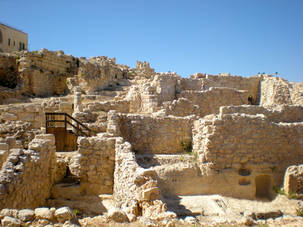 Beige stone archeological site in Israel
