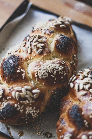 Challah on a tray