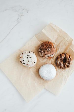 Variety of donuts on napkin