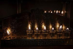 Lit oil menorah on Chanukah