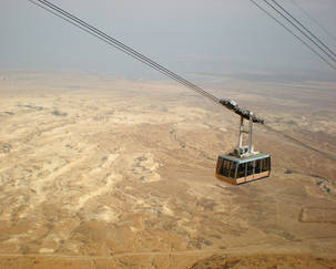 Cable car going down from Mesada, Israel