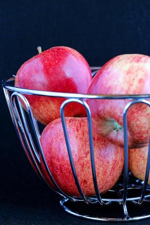 Apples In Fruit Basket Close Up