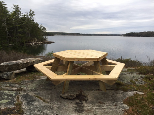 Spruce Hexagon Picnic Table - Spruce picnic table