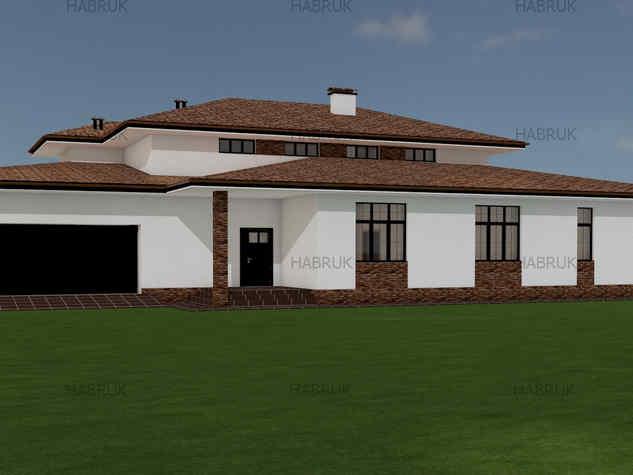 Одноэтажный дом по стилю Фрэнка Ллойда Райта