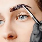 Master brush dye henna eyebrows woman in