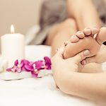 Close up of woman's feet and beauty salo