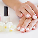 Young, perfect, groomed woman's hands wi