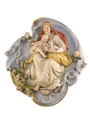 Plaque of Madonna with doves without frame