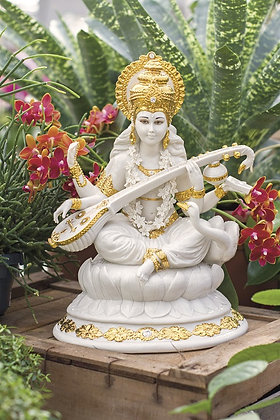 Saraswati - White and Gold