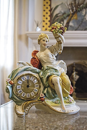 Lady with horn of plenty - clock