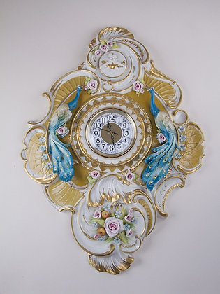Wall clock with peacock