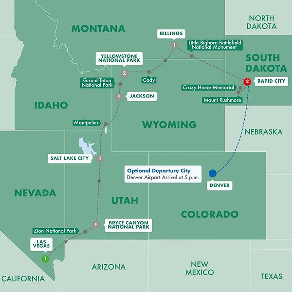 Trip Map - Traflagar - Western Frontiers