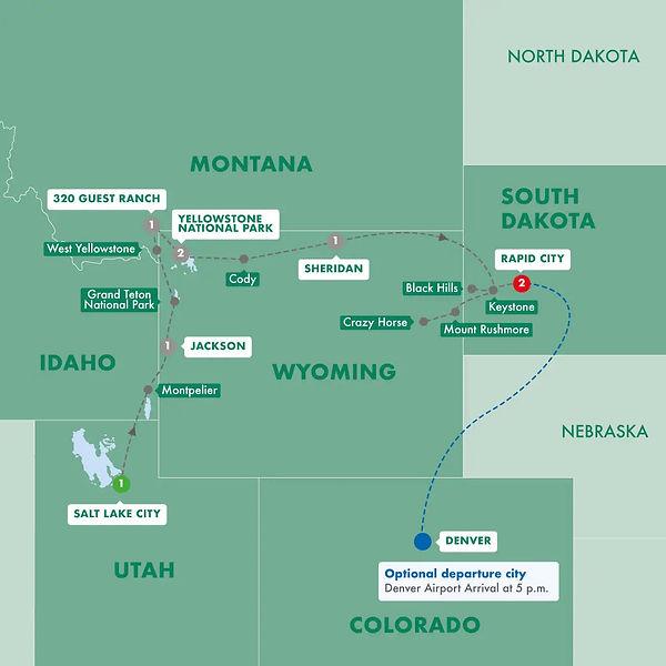 Trip Map - Trafalgar - Wild West Cowboys