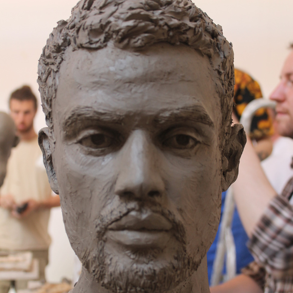 Head modelled in clay