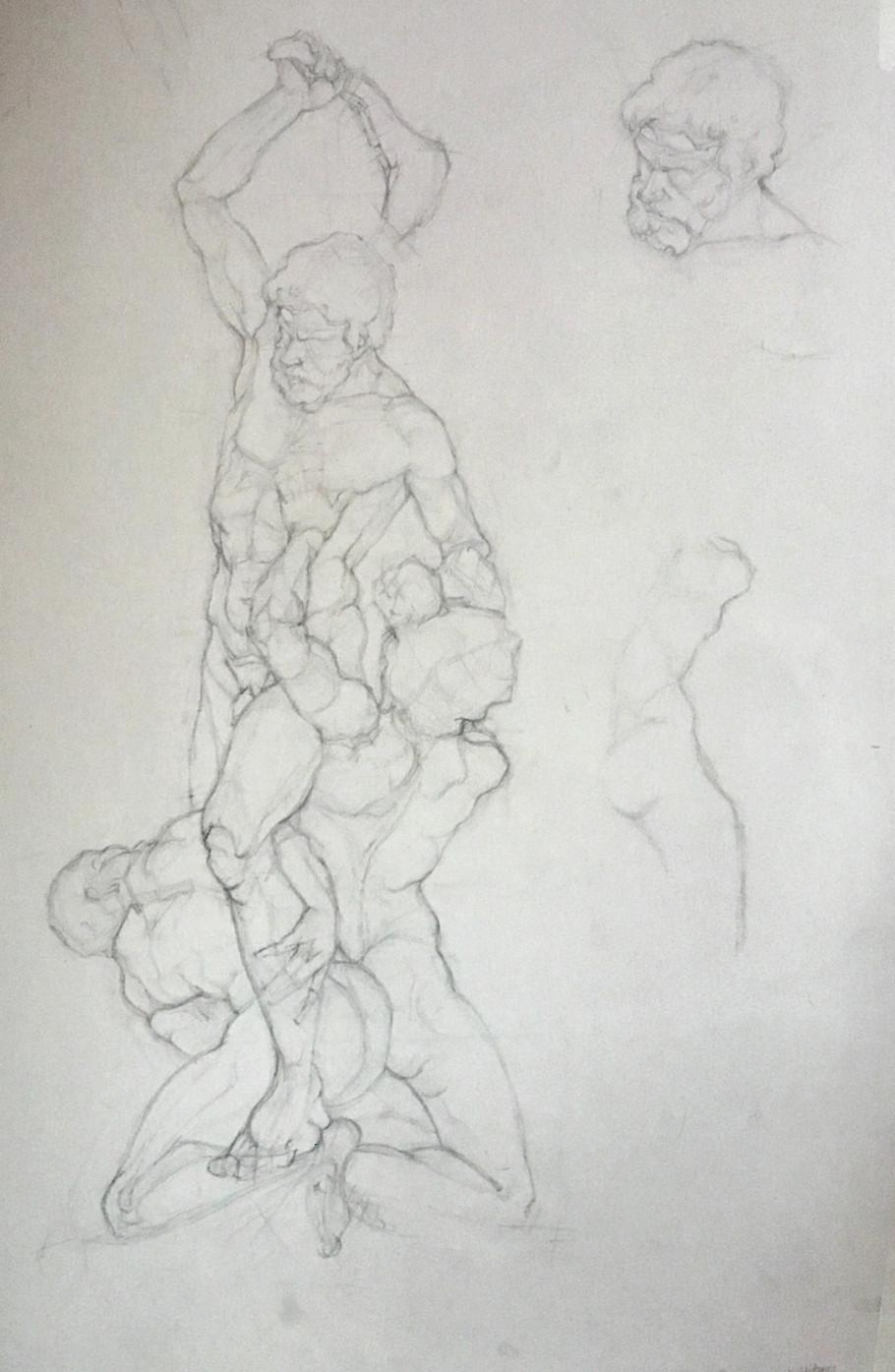 Pencil sketch of 'Samson and the Philistines' by Foggini