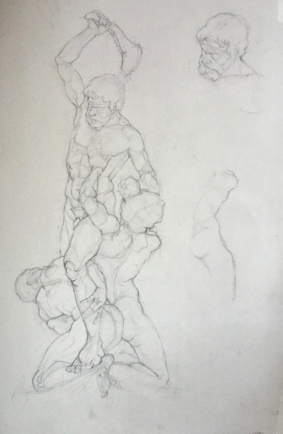 Pencil sketch of 'Samson and the Philistines' by Foggini