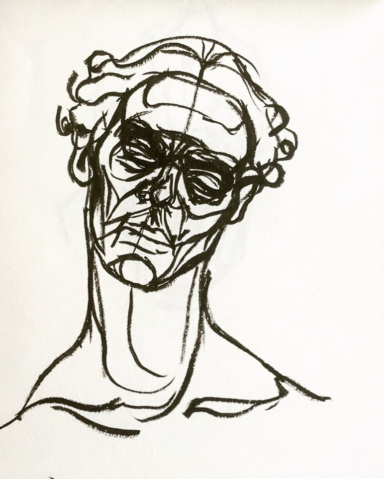A pen and ink sketch