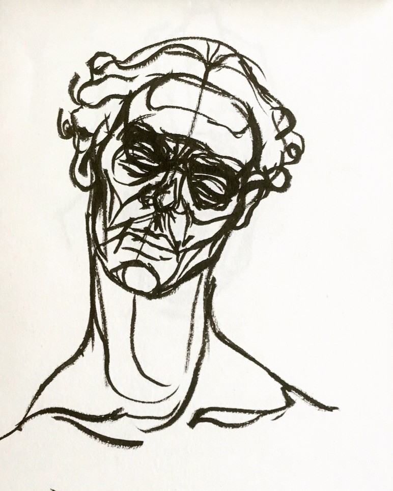 Pen and ink sketch of a Jacob Epstein bronze