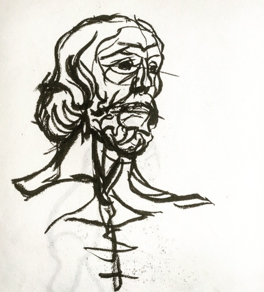 Pen and ink sketch of St John the Baptist, by Rodin