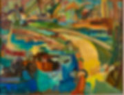 Oil Refiery, Curaçao, Oil on canvas, 70 x 90 cm, 1959