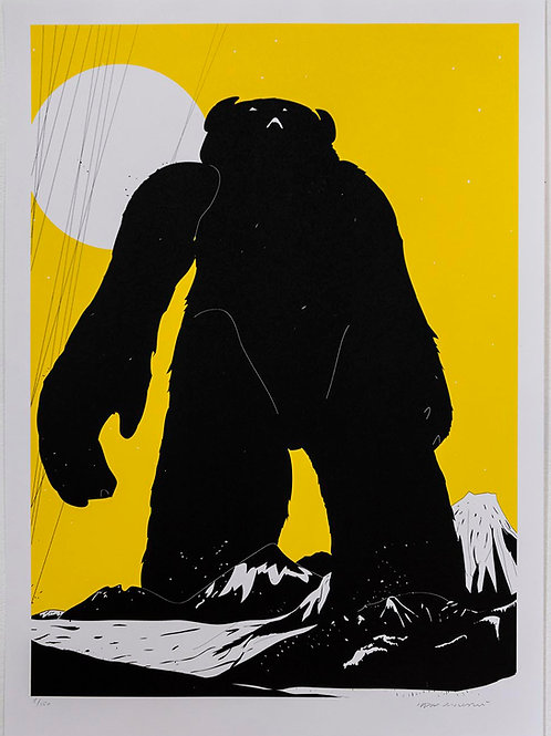 YETI OVER MOUNT FUJI (PANTONE YELLOW) by Phil Ashcroft