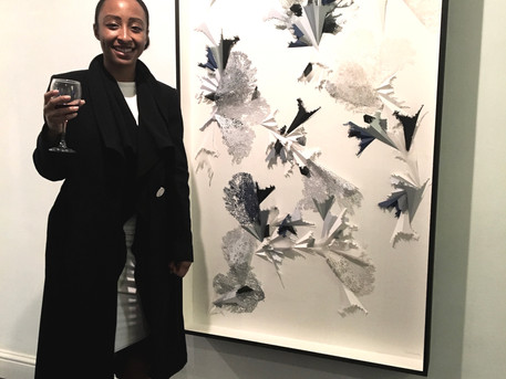 Dionne Cole with her new work 'Flight' at the exhibition 'The Structure of Things'