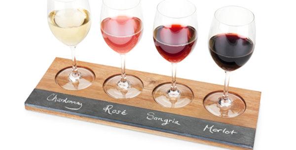Acacia Wood Wine Flight Board by Twine®