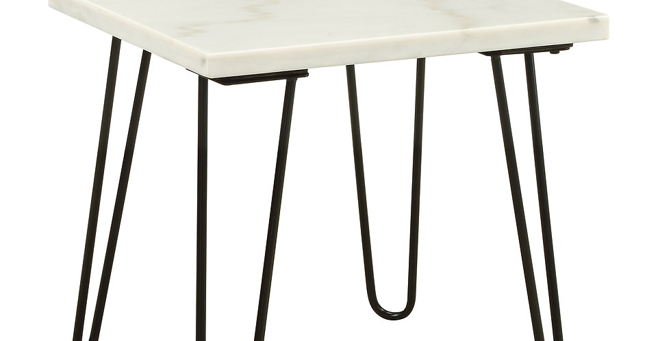 Marble And Black End Table