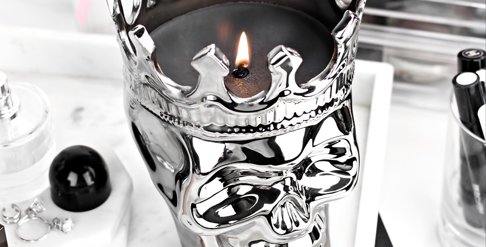 Thompson Ferrier Silver Skull Candle