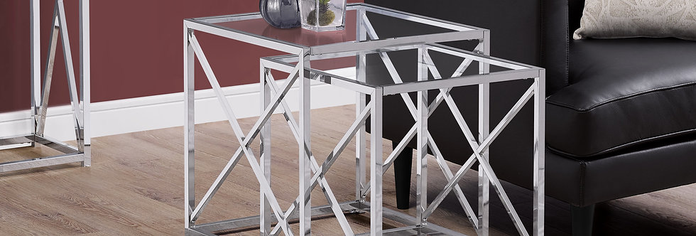 Chrome Metal and Tempered Glass Table (Two Piece)