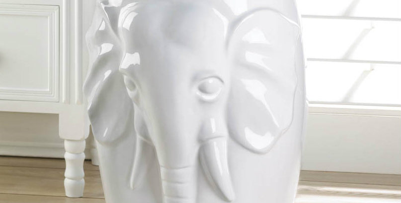 White Ceramic Elephant Decorative Side Table