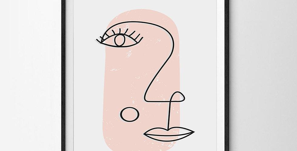 Pink Face Line Art Print