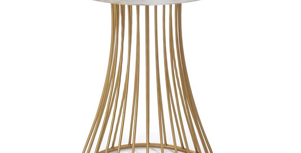 Round Gold Accent Table with Whitewash Top
