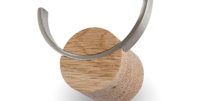 Oak Wood & Stainless Steel Coat Hook