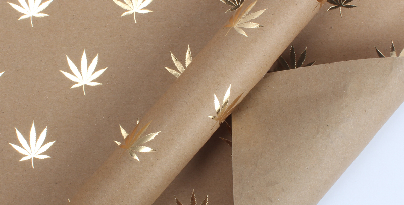 Cannabis Leaf Gold Wrapping Paper Sheets