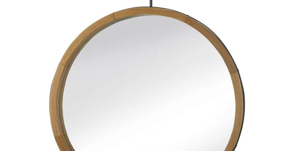 Eva Round Wood Frame Mirror w/ Hook