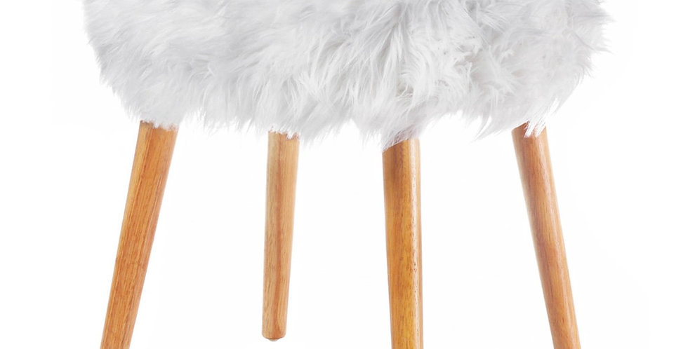 Faux Fur Stool with Wood Legs (White)