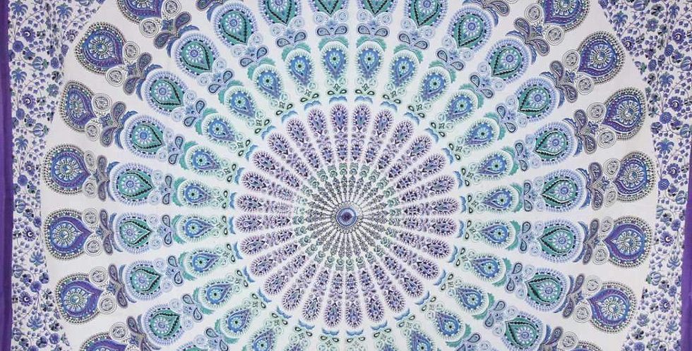 Peacock Feathers Mandala Tapestry