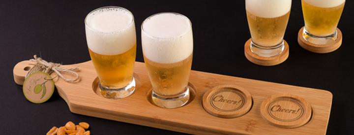 Cheers! Beer Flight Tasting Paddle w/ Coasters