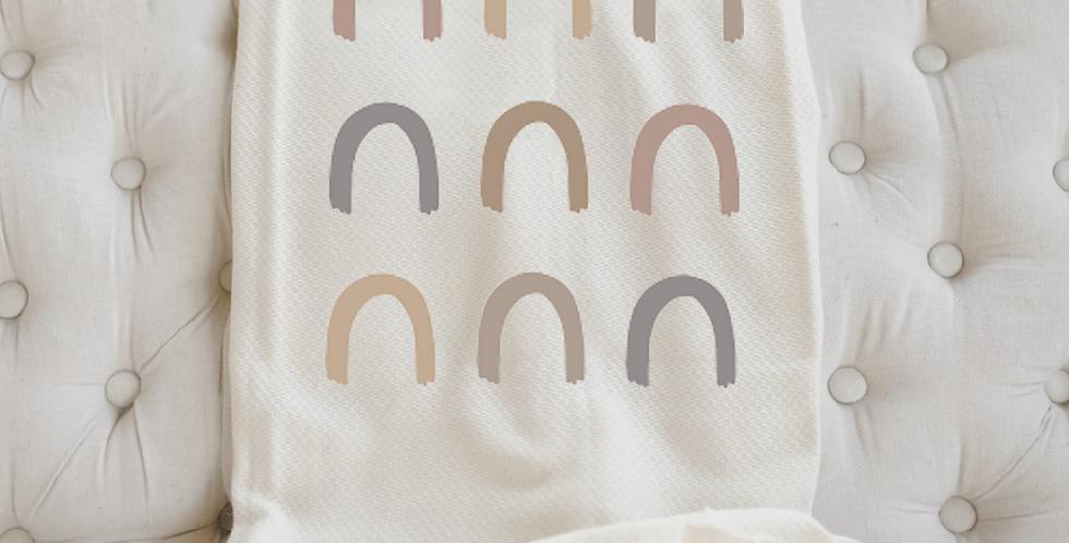 Subtle Mauve Rainbow Rows Throw Blanket