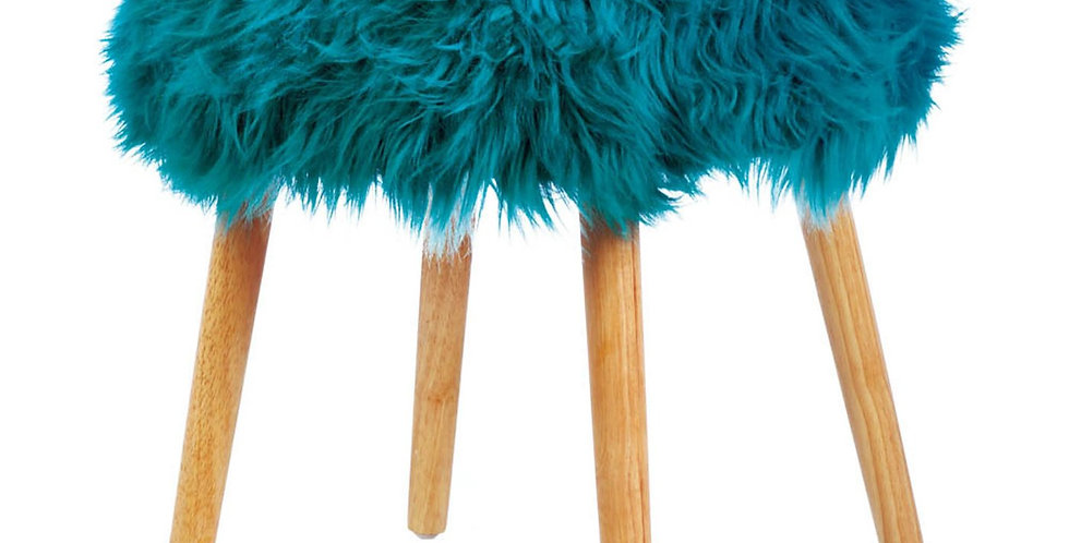 Faux Fur Stool with Wood Legs (Turquoise)