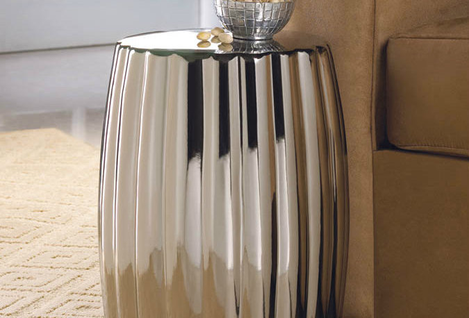 Dramatic Silver Ceramic Stool/Side Table