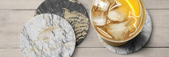 Marble Decor Wood Coasters