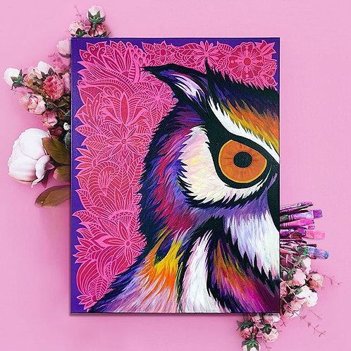 Owl Canvas / Original Mixed Media